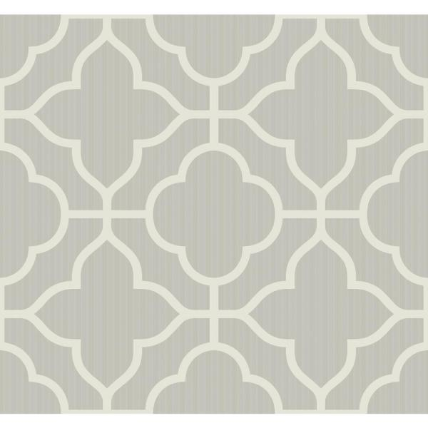 Seabrook Designs Geo Trellis Metallic Silver Contemporary
