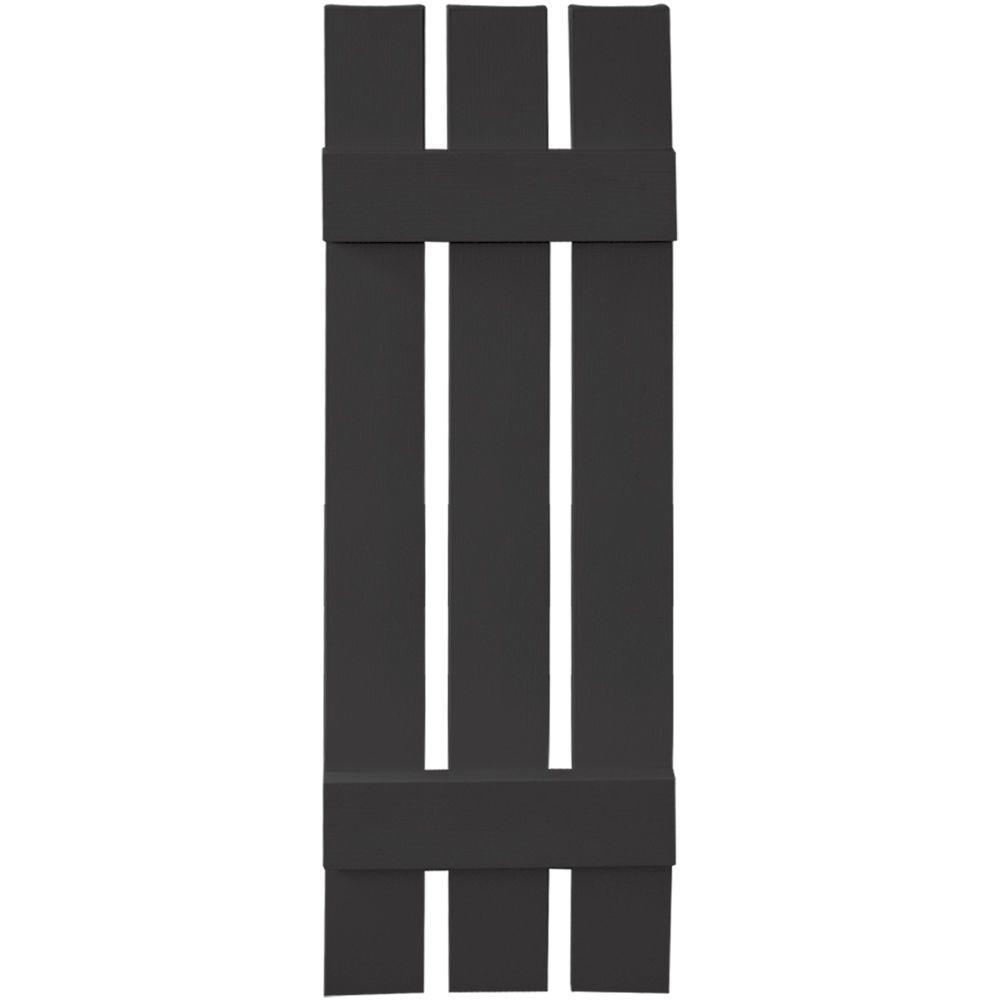 12 in. x 39 in. Board-N-Batten Shutters Pair, 3 Boards Spaced #002 Black