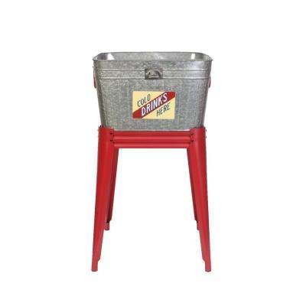 Vintage Metal Washtub Raised Planter with Stand