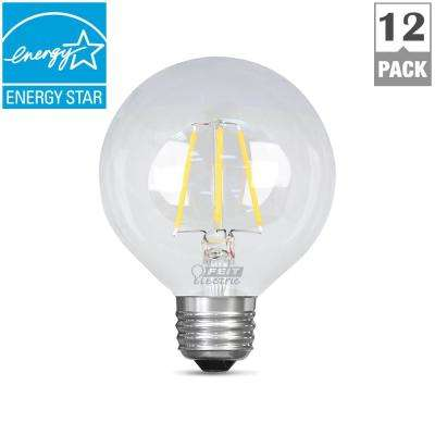 60W Equivalent Daylight G25 Dimmable Clear Filament LED Medium Base Light Bulb (Case of 12)