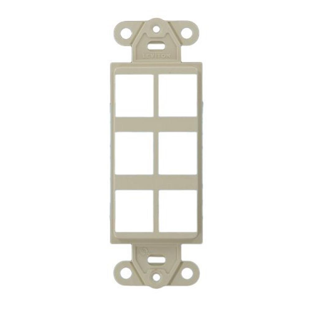 Leviton Decora 1 Gang Quickport 6 Port Insert Light Almond 41646 T 15 Amp 4way Switch Whiter58056042ws The Home Depot