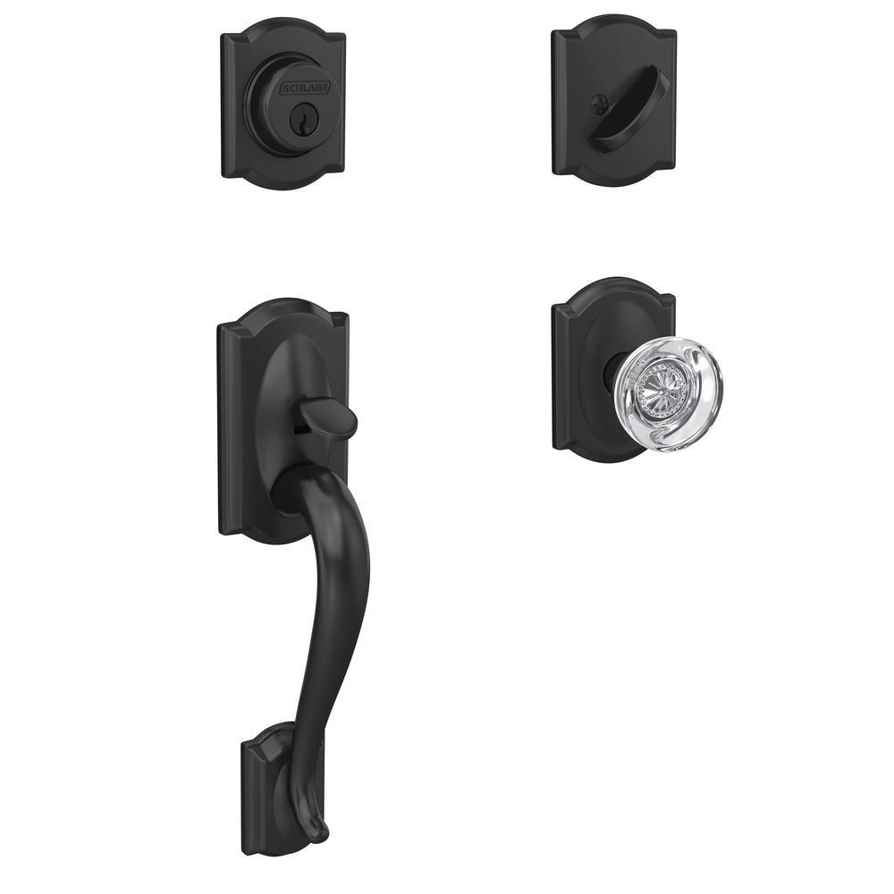 Custom Camelot Matte Black Single Cylinder Door Handleset with Hobson Glass Door Knob with Camelot Trim