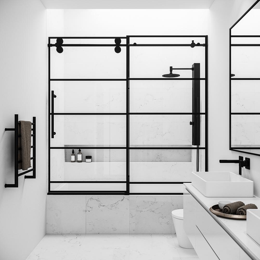 Elan 60 in. x 66 in. Frameless Sliding Tub Door in Matte Black and Clear Glass