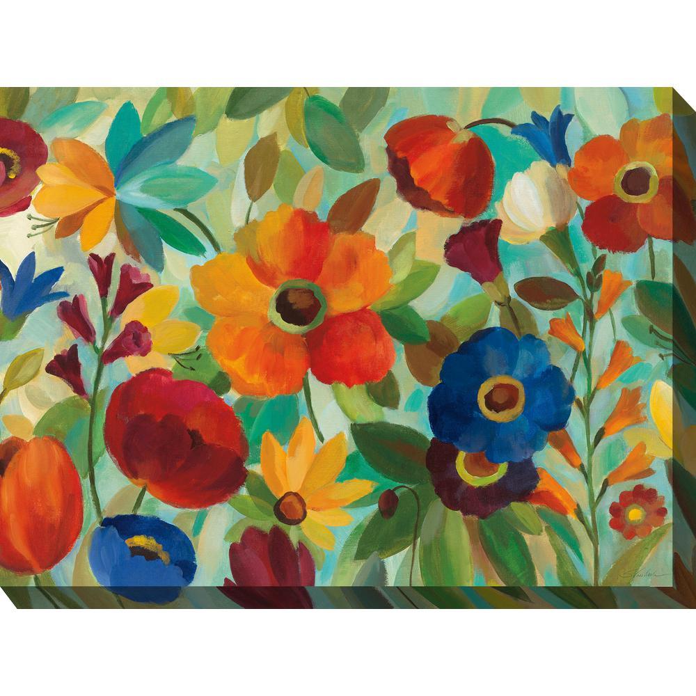 """40 in. x 30 in. """"Jamboree Garden"""" Outdoor Canvas Wall Art"""