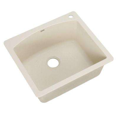 Diamond Dual Mount Granite Composite 25 in. 1-Hole Single Bowl Kitchen Sink in Biscuit