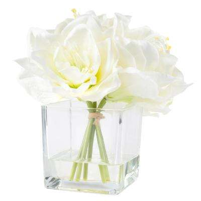 8.5 in. Lily Floral Cream Arrangement