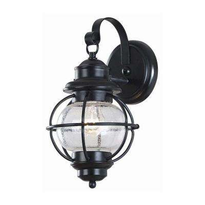 Greer 1 Light Black Exterior Wall Lantern Small With Caged Seeded Gl