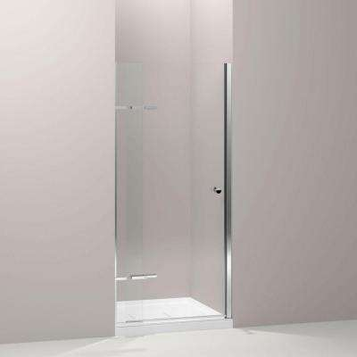 Underline 36 in. x 69-1/2 in. Frameless Pivot Shower Door in Bright Polished Silver with Handle