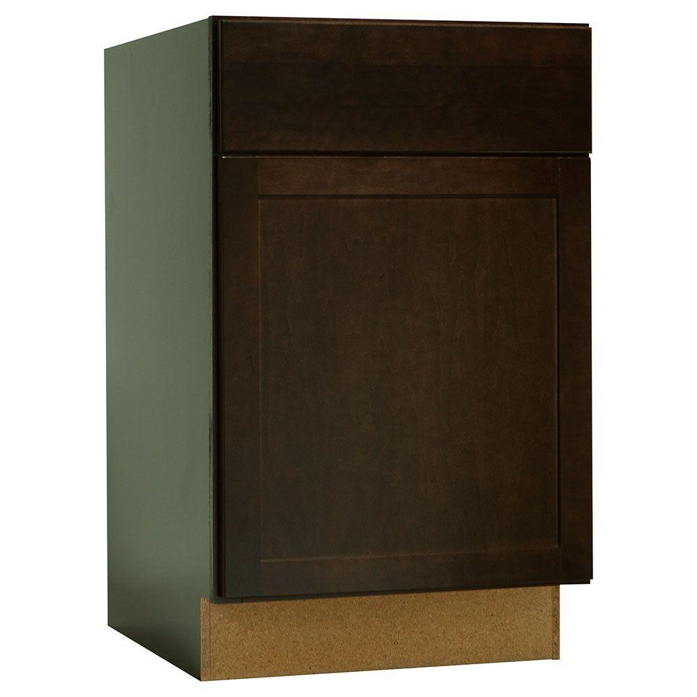 Hampton Bay Shaker Assembled 21x34.5x24 in. Base Kitchen Cabinet with Ball-Bearing Drawer Glides in Java