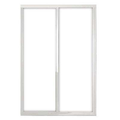 48 in. x 81 in. Silhouette 1-Lite Mystique Glass Bright Clear Frame Aluminum Sliding Door