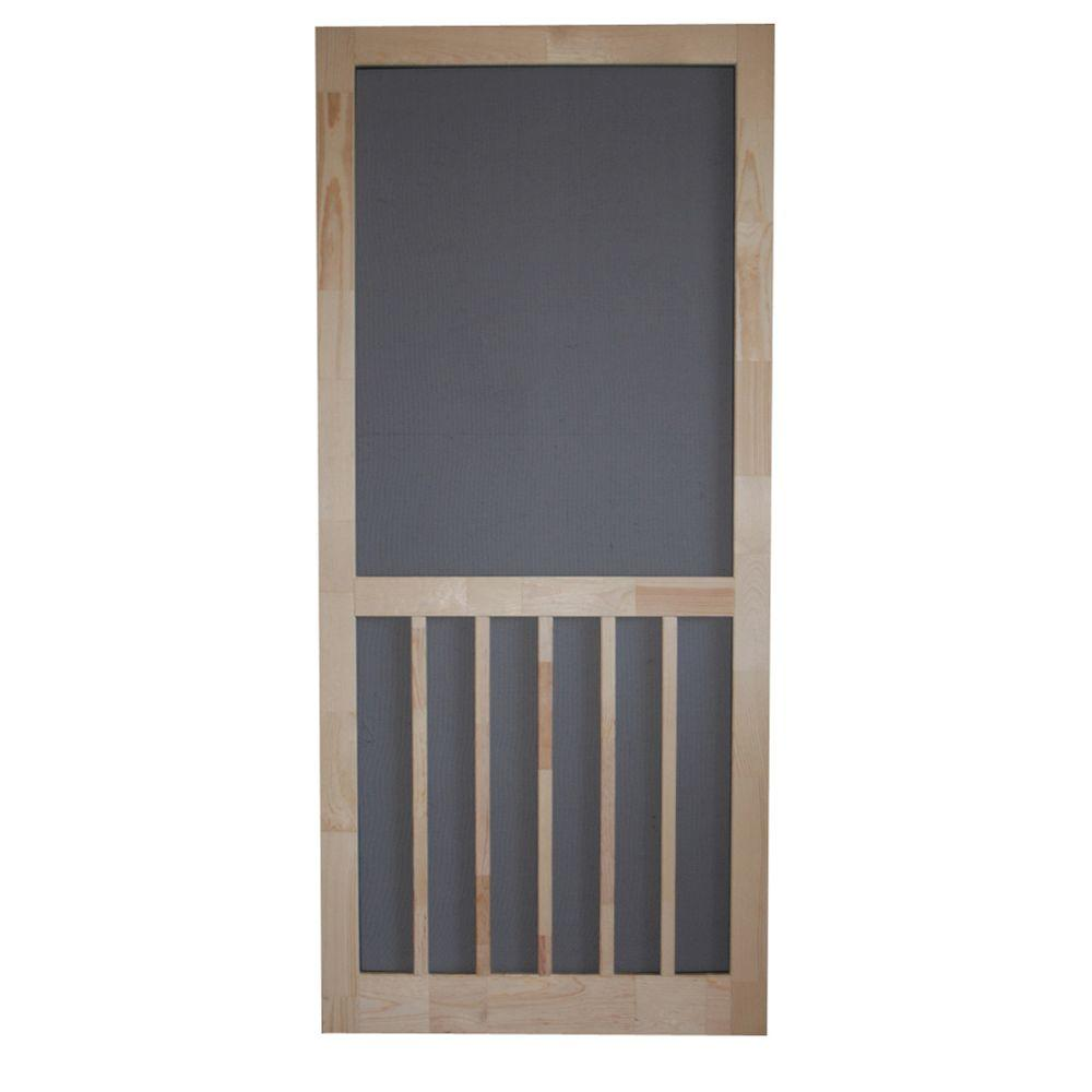Screen Tight 30 in. x 80 in. Timberline Wood Unfinished Reversible Hinged Screen Door