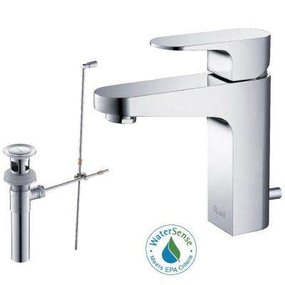 Aragon Single Hole Single-Handle Lead Free Solid Brass Bathroom Faucet in Chrome with Drain Kit