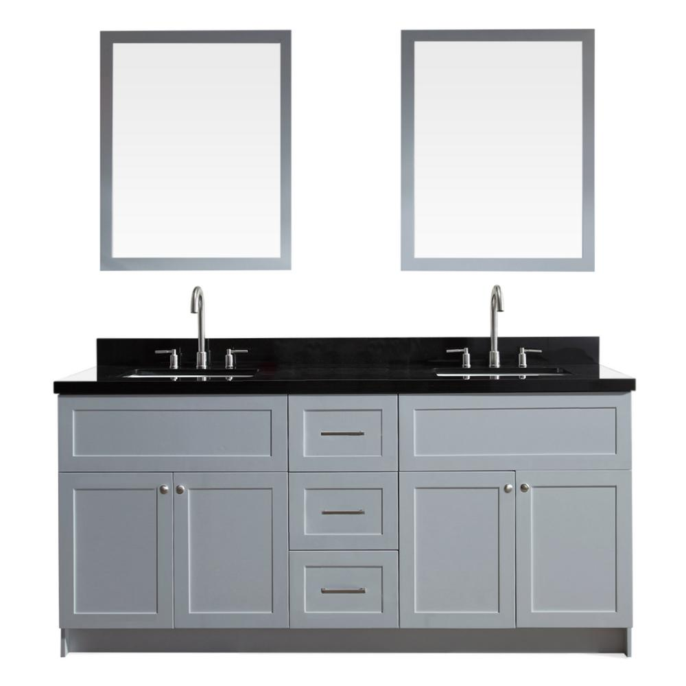 Ariel Hamlet 73 in. Bath Vanity in Grey with Granite Vanity Top in Absolute Black with White Basins and Mirrors