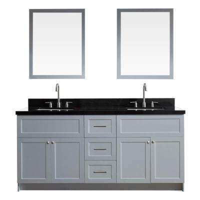 Hamlet 73 in. Vanity in Grey with Granite Vanity Top in Absolute Black with White Basins and Mirrors