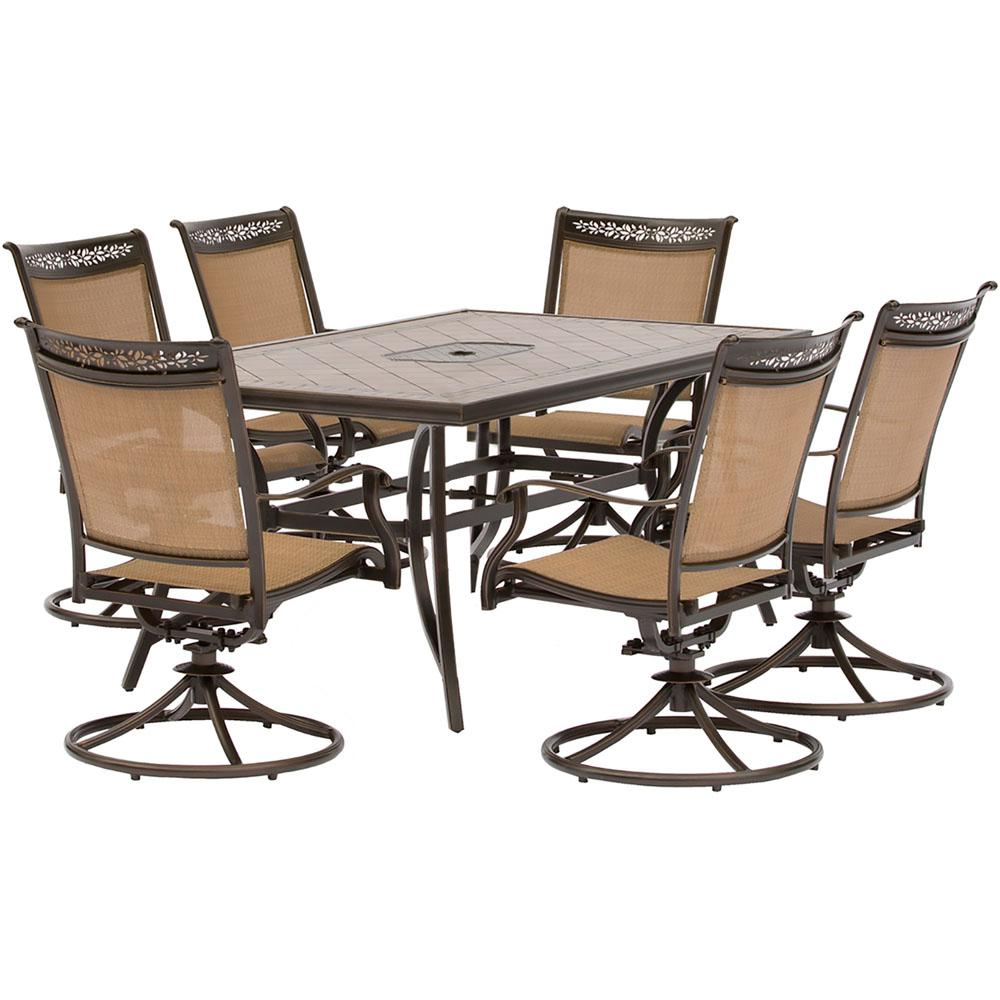 hanover fontana 7 piece alumninum rectangular outdoor dining set with swivel rockers tile top. Black Bedroom Furniture Sets. Home Design Ideas