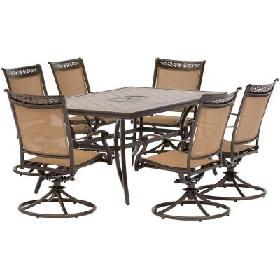 Fontana 7-Piece Alumninum Rectangular Outdoor Dining Set with Swivel Rockers Tile-Top Table