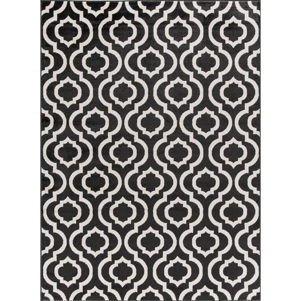 Jasmin Collection Moroccan Trellis Design Charcoal Gray and Ivory 5 ft.