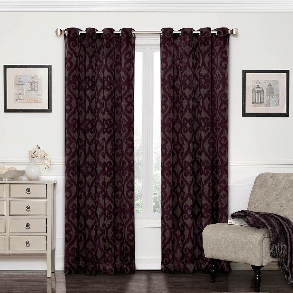 Patricia Blackout Aubergine Grommet Curtain Panel, 84 in. Length (Price Varies