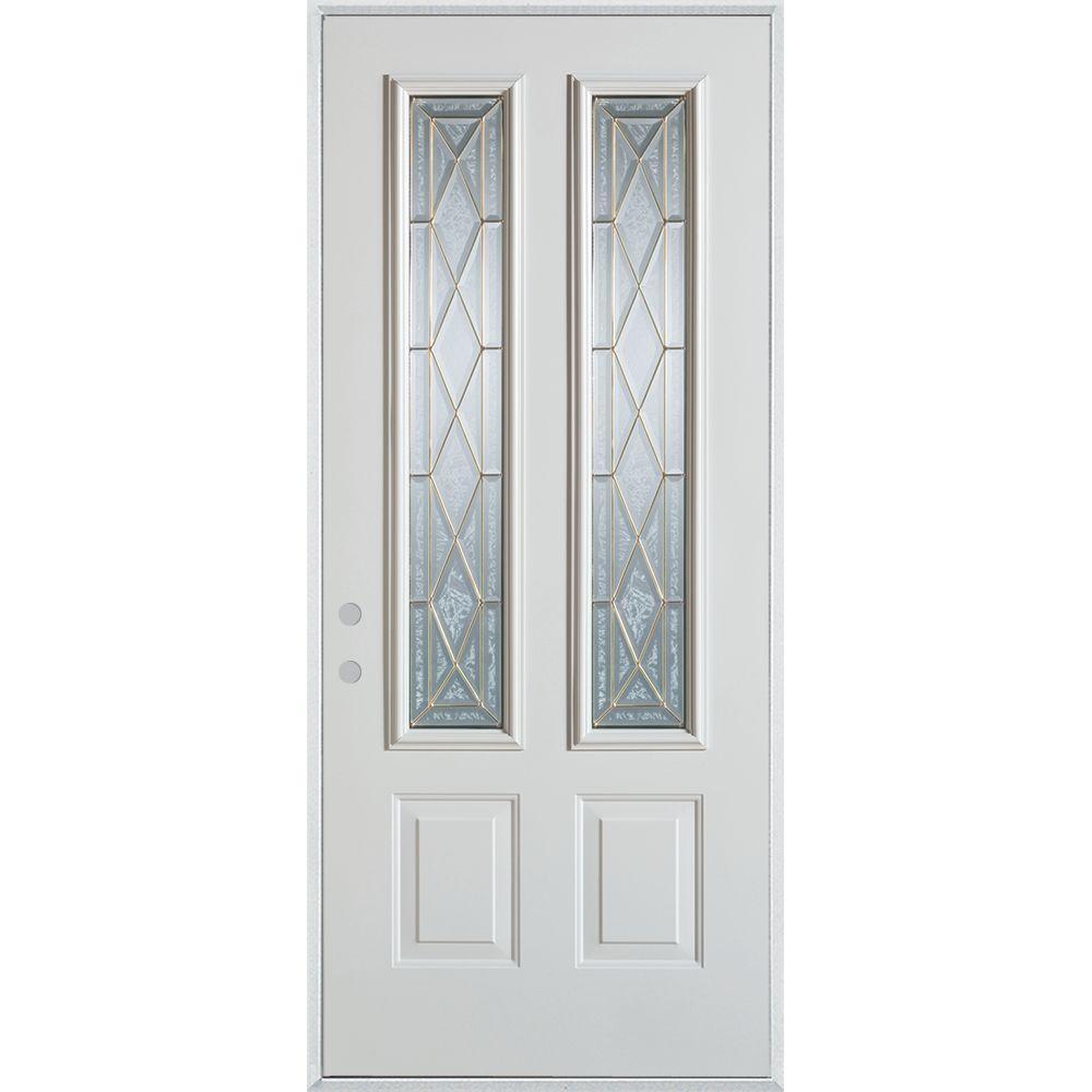 Stanley Doors 33.375 in. x 82.375 in. Art Deco 2 Lite 2-Panel Painted White Right-Hand Inswing Steel Prehung Front Door