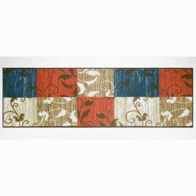 Leaf Vine Squares Multi 2 ft. x 5 ft. Area Runner Rug