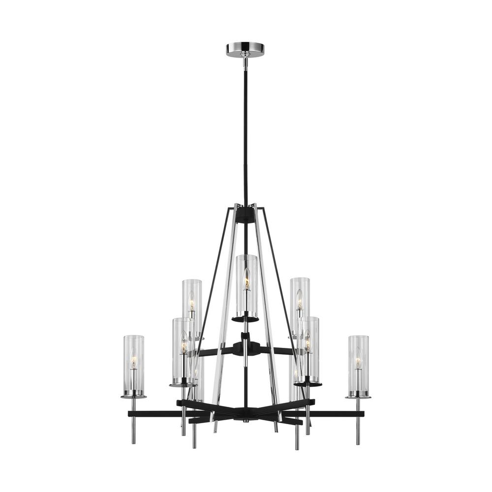 Feiss Broderick 9-Light Textured Black Chandelier with Clear Glass Shades