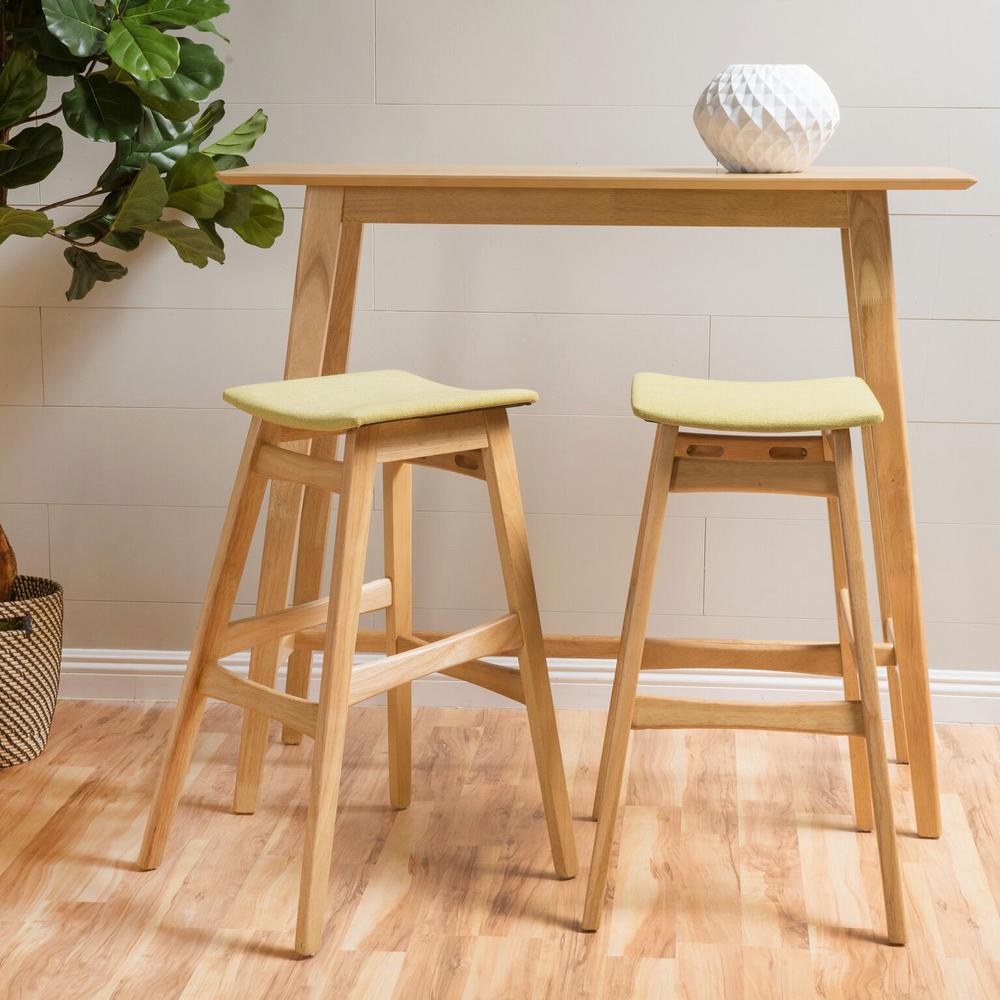 3-Piece Oak Wood and Green Tea Fabric Bar Set