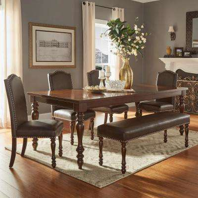 Madison 6-Piece Brown Extendable Dining Set