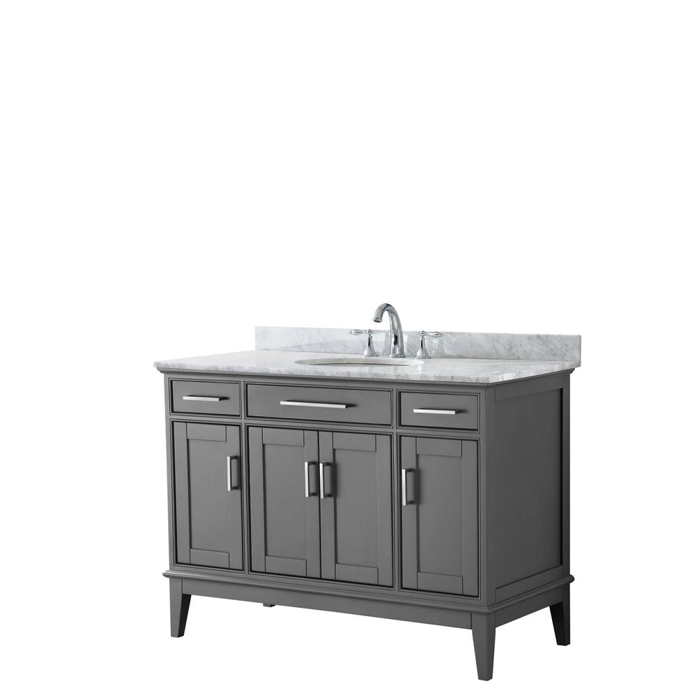 Wyndham Collection Margate 48 in. W x 22 in. D Bath Vanity in Dark Gray with Marble Vanity Top in White Carrara with White Basin