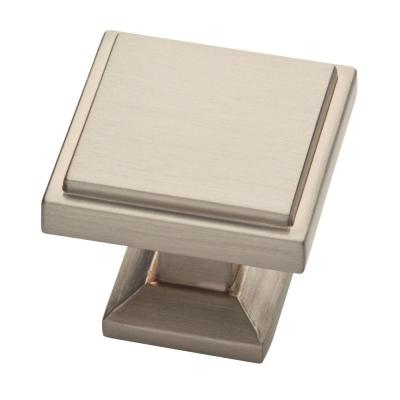 Classic Square 1-1/9 in. (28 mm) Satin Nickel Cabinet Knob