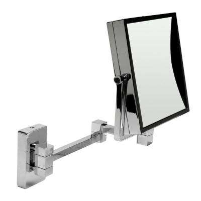 8 in. x 8 in. Square Framed Wall Mounted 5X and 0X Mirror in Polished Chrome
