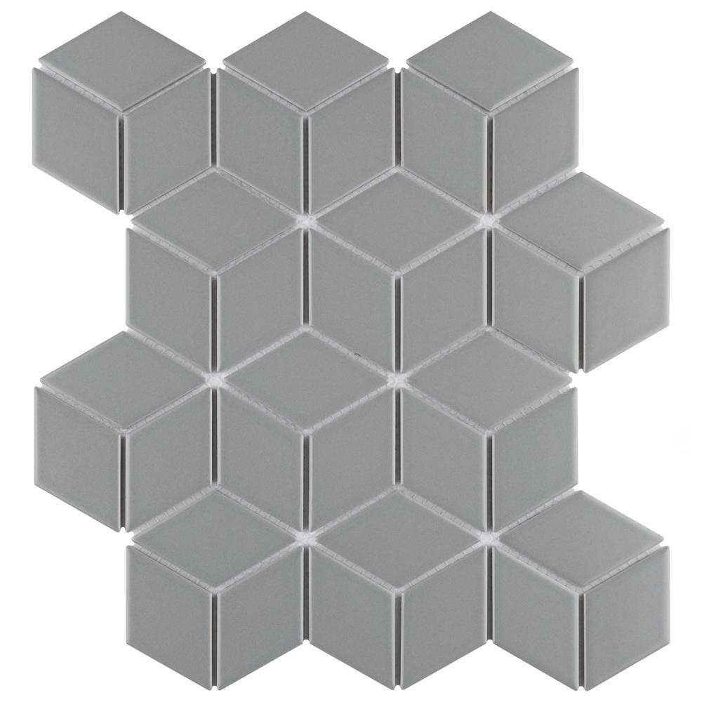 Metro Rhombus Matte Light Grey 10-1/2 in. x 12-1/8 in. Porcelain Mosaic (9.04 sq. ft. / case)