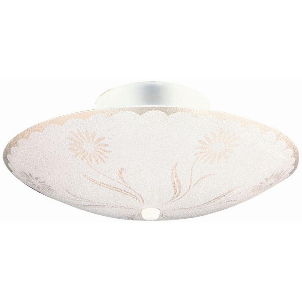 2-Light White Round Floral Design Ceiling Light