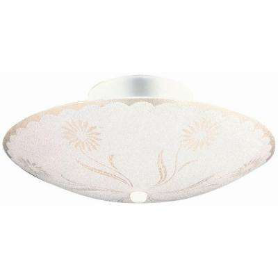 2-Light White Round Floral Design Ceiling Light