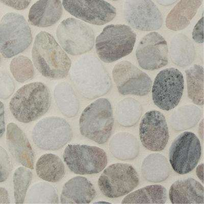 Puebla Greige Pebble 11.42 in. x 11.42 in. x 10mm Polished Marble Mesh-Mounted Mosaic Tile (0.91 sq. ft.)