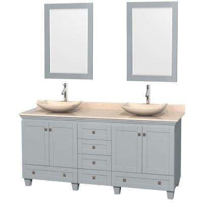 Acclaim 72 in. W x 22 in. D Vanity in Oyster Gray with Marble Vanity Top in Ivory with Ivory Basins and 24 in. Mirrors