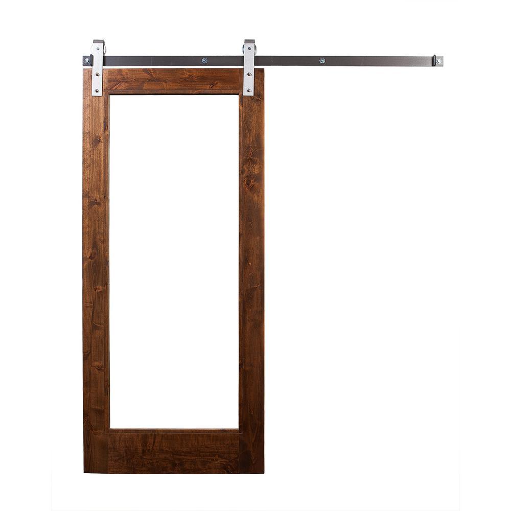 42 in. x 84 in. Stain, Glaze, Mirror Door with Industrial Sliding Door Hardware Kit in Brushed Steel