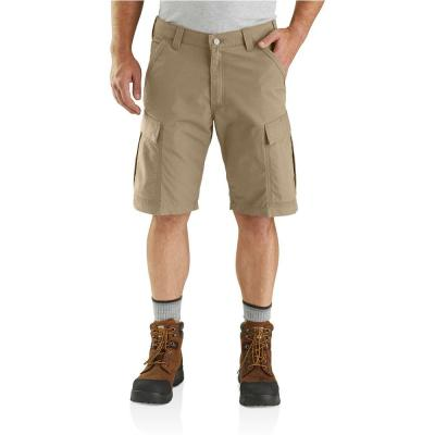 Men's 34 in. Dark Khaki Cotton/Polyester/Elaster Force Broxton Cargo Short