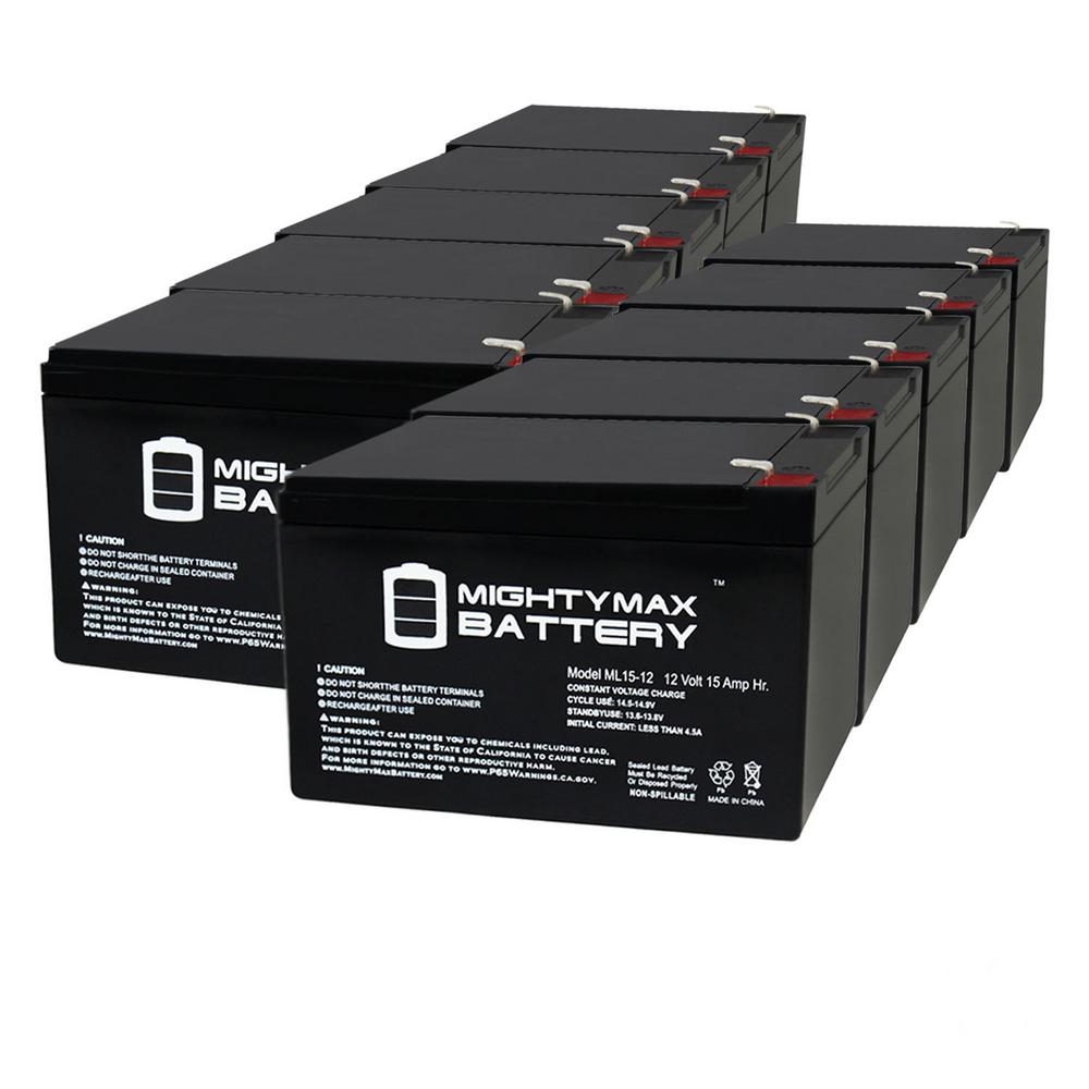 MIGHTY MAX BATTERY 12 -Volt 15 Ah Sealed Lead Acid Rechargeable F2 Terminal Battery (10-Pack)