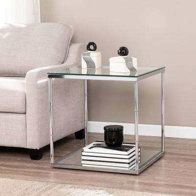 Soto Chrome Glass End Table with Mirrored Shelf