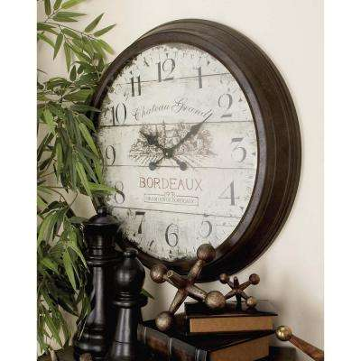 28 in. Vintage Russet Round Wall Clock