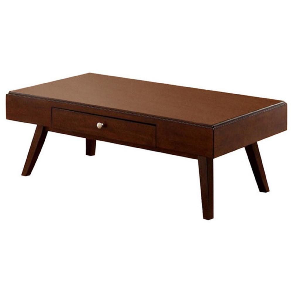 Kinley brown cherry midcentury modern coffee table with drawer bm119855 the home depot Coffee table cherry