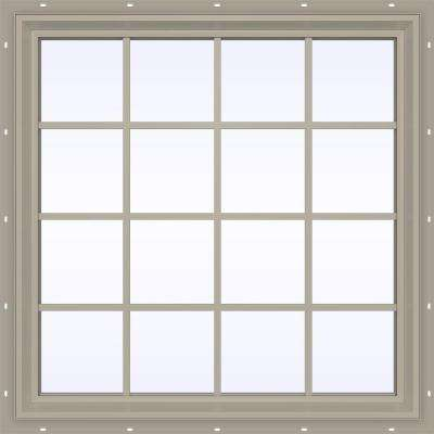 47.5 in. x 47.5 in. V-2500 Series Desert Sand Vinyl Fixed Picture Window with Colonial Grids/Grilles