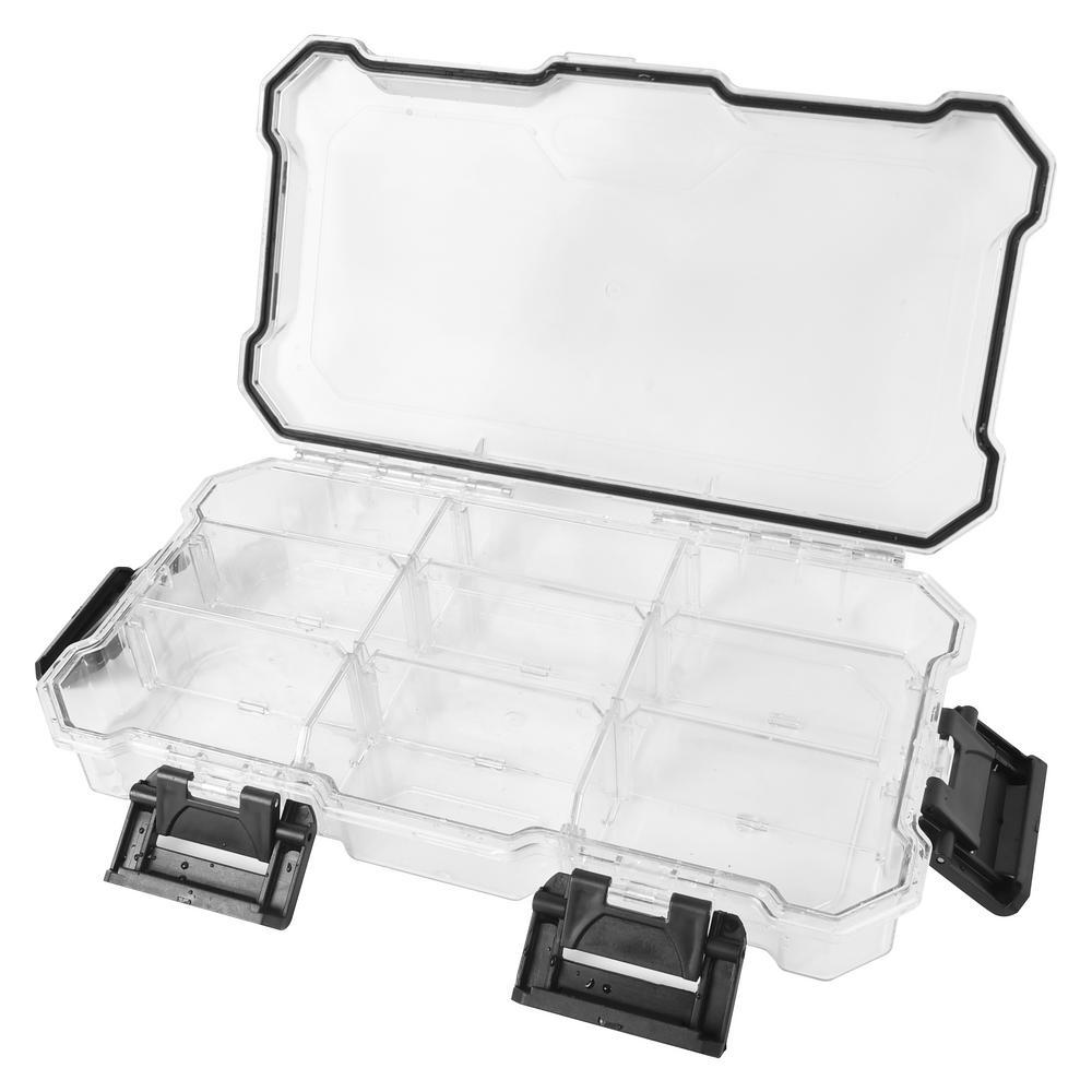 12 in. 9-Compartment Waterproof Storage Bin Small Parts Organizer