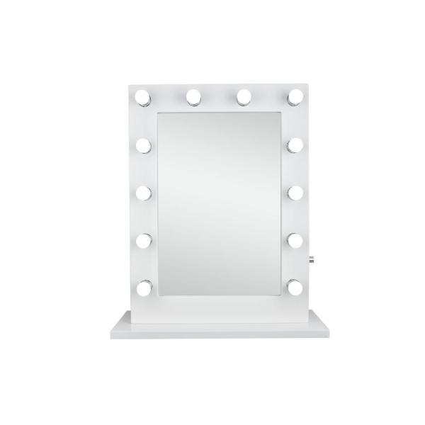Timeless Home 32.5 in. H x 27.5 in. W Modern Rectangular Steel Lighted LED Mirror in Glossy White (5000K)
