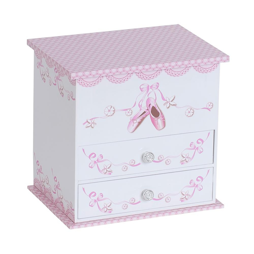 Angel Girl's White Fashion Paper Musical Ballerina Jewelry Box