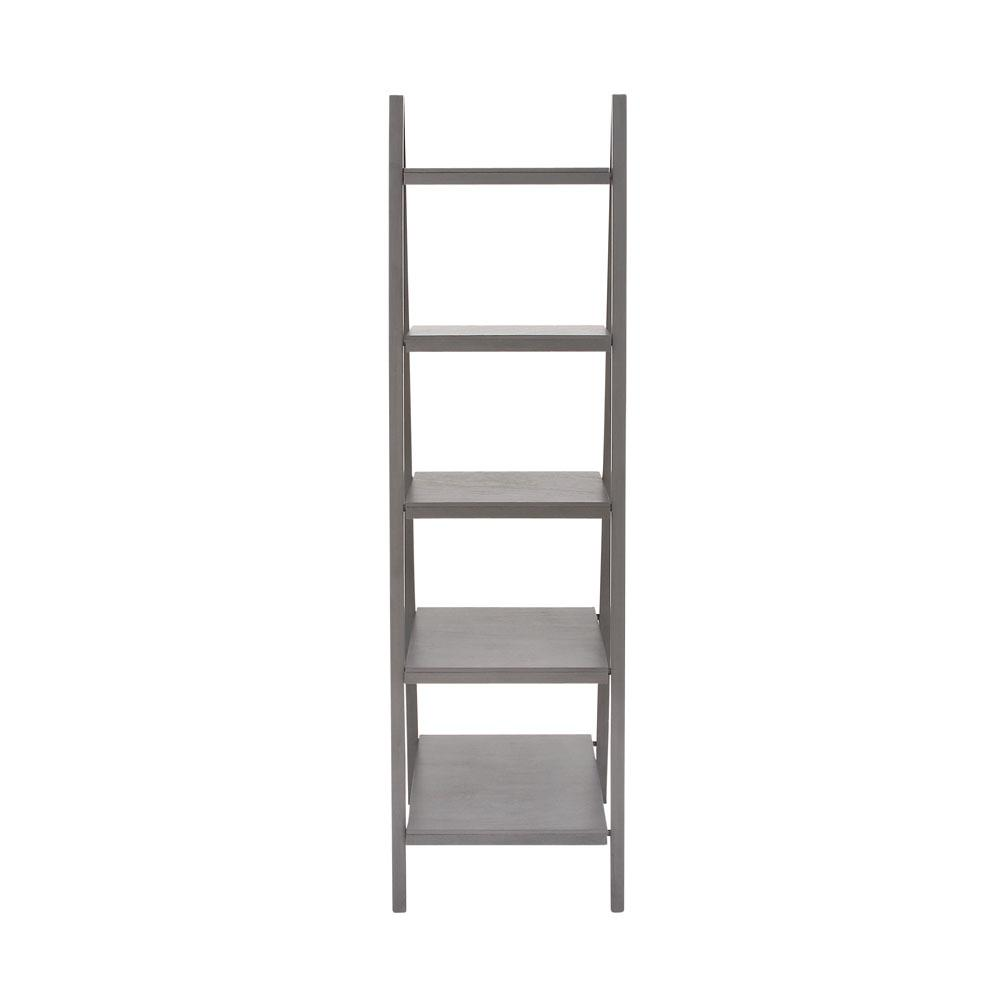 Matte Gray 5-Tier Ladder Bookcase