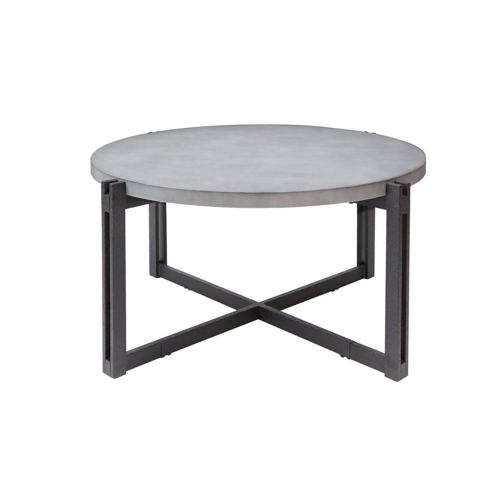 Dakota Gray Round Concrete Finish Top Coffee Table