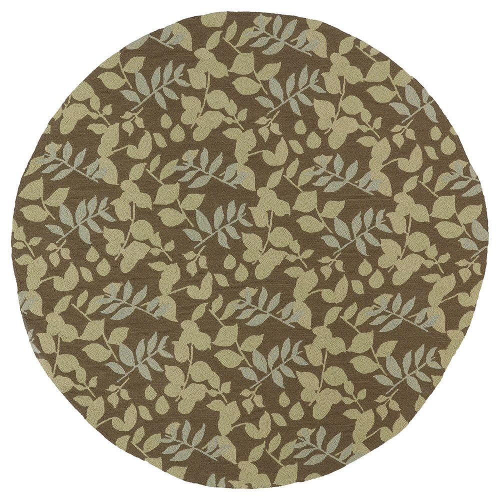 Kaleen Home and Porch Wymberly Coffee 5 ft. 9 in. Indoor/Outdoor Round Area Rug