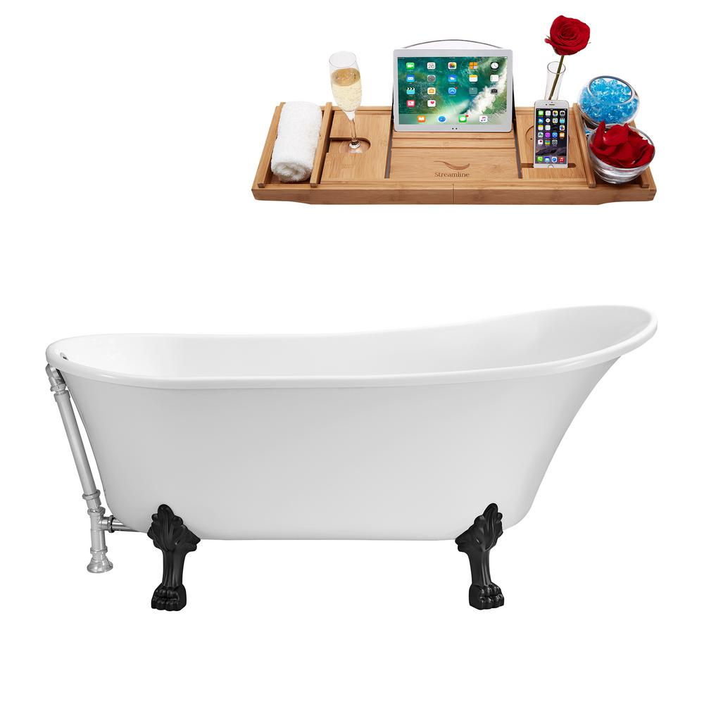 59.1 in. Acrylic Clawfoot Non-Whirlpool Bathtub in White