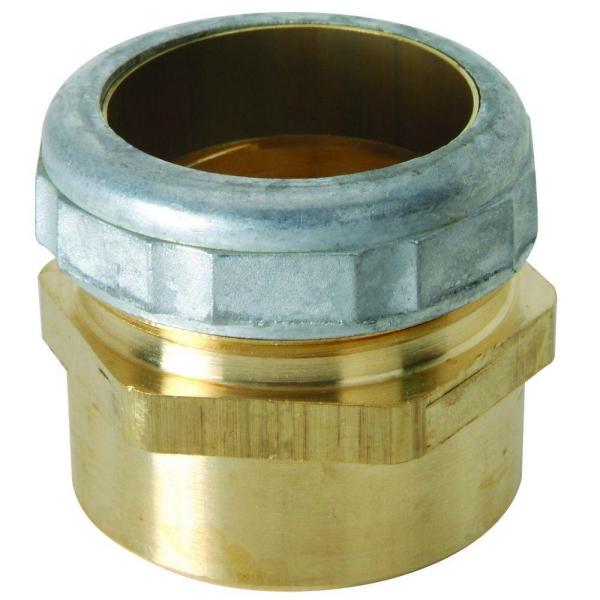 1-1/4 in. O.D. Compression x 1-1/4 in. I.D. Female Sweat Brass Waste Connector with Die Cast Nut in Rough Finish